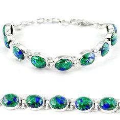 Natural green malachite in azurite 925 sterling silver tennis bracelet k27559