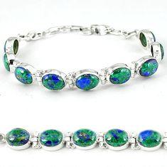 Natural green malachite in azurite 925 sterling silver tennis bracelet k27560