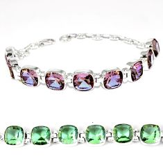 Purple alexandrite (lab) cushion 925 sterling silver bracelet jewelry k28325