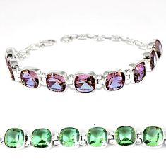 Purple alexandrite (lab) cushion 925 sterling silver bracelet jewelry k28326