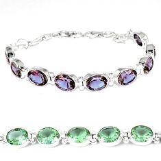 Purple alexandrite (lab) oval 925 sterling silver bracelet jewelry k28337