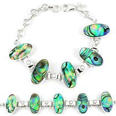 925 silver natural green abalone paua seashell white pearl bracelet k28896