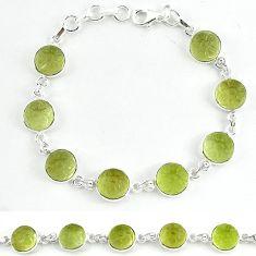 Natural lemon topaz carved round 925 sterling silver tennis bracelet k33496
