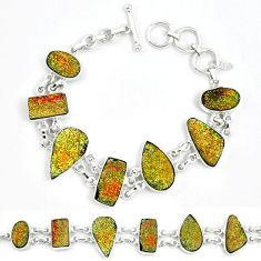 Natural multi color pyrite druzy 925 sterling silver bracelet jewelry k33821