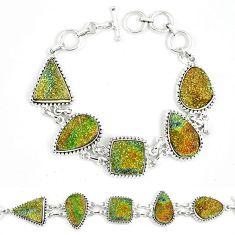 Natural multi color pyrite druzy fancy 925 sterling silver bracelet k33823