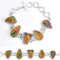 925 sterling silver natural multi color pyrite druzy bracelet jewelry k33824
