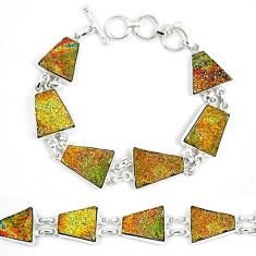 Natural multi color pyrite druzy 925 sterling silver bracelet jewelry k33825