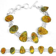 Natural multi color pyrite druzy 925 sterling silver bracelet jewelry k33826
