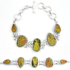Natural multi color pyrite druzy 925 sterling silver bracelet jewelry k33827