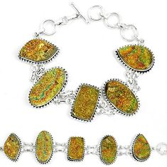 Natural multi color pyrite druzy 925 sterling silver bracelet jewelry k33828