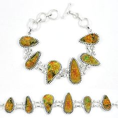 Natural multi color pyrite druzy fancy 925 sterling silver bracelet k33830