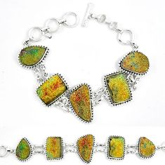 Natural multi color pyrite druzy 925 sterling silver bracelet jewelry k33832
