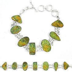 Natural multi color pyrite druzy fancy 925 sterling silver bracelet k33833