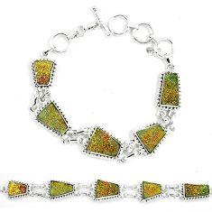 925 sterling silver natural multi color pyrite druzy fancy bracelet k33835