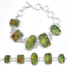 Natural multi color pyrite druzy 925 sterling silver bracelet k33837
