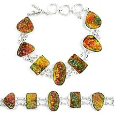 Natural multi color pyrite druzy 925 sterling silver bracelet jewelry k33838