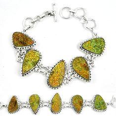 Natural multi color pyrite druzy 925 sterling silver bracelet k33840