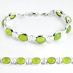 Natural green prehnite 925 sterling silver tennis bracelet jewelry k35247