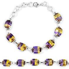 Multi color ametrine (lab) 925 sterling silver tennis bracelet jewelry k38164
