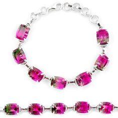 Watermelon tourmaline (lab) 925 sterling silver tennis bracelet jewelry k38171