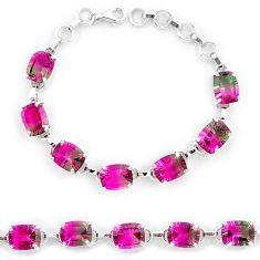 925 sterling silver watermelon tourmaline (lab) tennis bracelet jewelry k38172