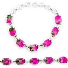 Watermelon tourmaline (lab) 925 sterling silver tennis bracelet jewelry k38173