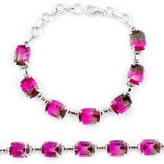 Watermelon tourmaline (lab) 925 sterling silver tennis bracelet jewelry k38174