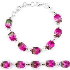 925 sterling silver watermelon tourmaline (lab) tennis bracelet jewelry k38175