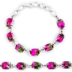 Watermelon tourmaline (lab) 925 sterling silver tennis bracelet jewelry k38176