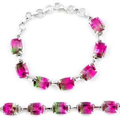 Watermelon tourmaline (lab) 925 sterling silver tennis bracelet jewelry k38177