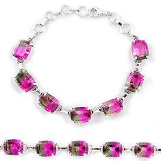Watermelon tourmaline (lab) 925 sterling silver tennis bracelet jewelry k38179