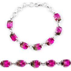 Watermelon tourmaline (lab) 925 sterling silver tennis bracelet jewelry k38180
