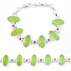 Natural green prehnite amethyst 925 sterling silver bracelet jewelry k41341