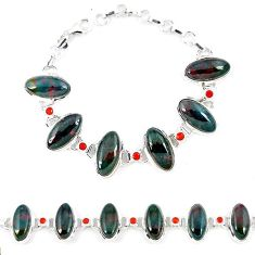 925 silver natural green bloodstone african (heliotrope) oval bracelet k41345