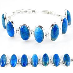 Natural blue shattuckite oval 925 sterling silver bracelet jewelry k41350