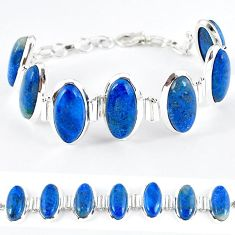 Natural blue shattuckite oval 925 sterling silver bracelet jewelry k41351
