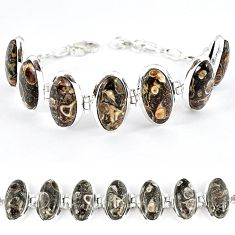 925 sterling silver natural brown turritella fossil snail agate bracelet k41354