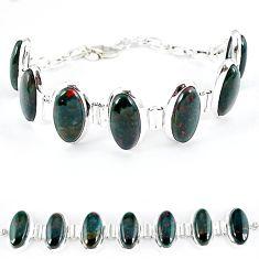 925 silver natural green bloodstone african (heliotrope) oval bracelet k41357