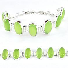 Natural green prehnite oval 925 sterling silver bracelet jewelry k41359