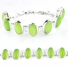925 sterling silver natural green prehnite oval bracelet jewelry k41360