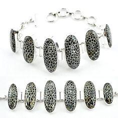 Natural black stingray coral from alaska 925 silver bracelet k47831