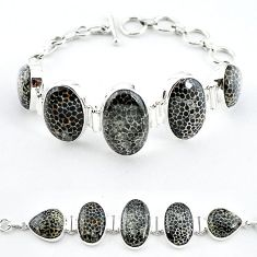 Natural black stingray coral from alaska 925 silver bracelet jewelry k47834