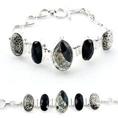 Natural black orthoceras 925 sterling silver bracelet jewelry k47837