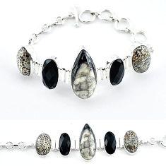 925 sterling silver natural black orthoceras bracelet jewelry k47838