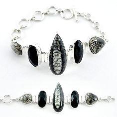 Natural black orthoceras black onyx 925 sterling silver bracelet k47839