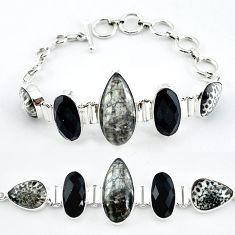 Natural black orthoceras black onyx 925 sterling silver bracelet jewelry k47840