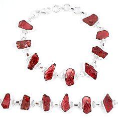 Natural red garnet rough 925 sterling silver tennis bracelet jewelry k47865