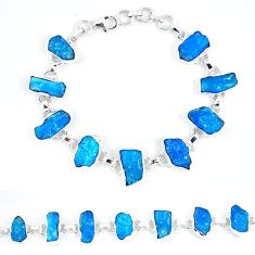 925 sterling silver blue apatite rough fancy tennis bracelet jewelry k47871