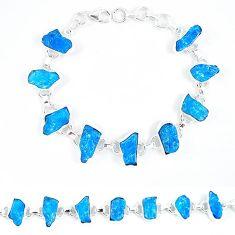 925 sterling silver blue apatite rough fancy tennis bracelet jewelry k47880