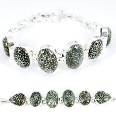 Natural black stingray coral from alaska 925 silver tennis bracelet k50374